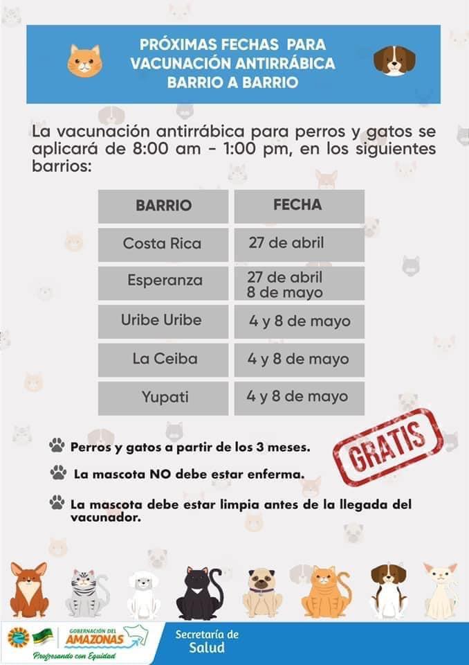 Próximas fechas para vacunación