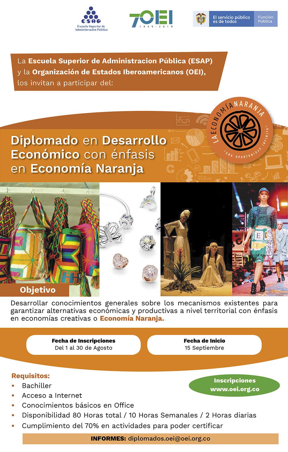 INSCRÍBETE - Desarrollo Económico con énfasis en Economía Naranja