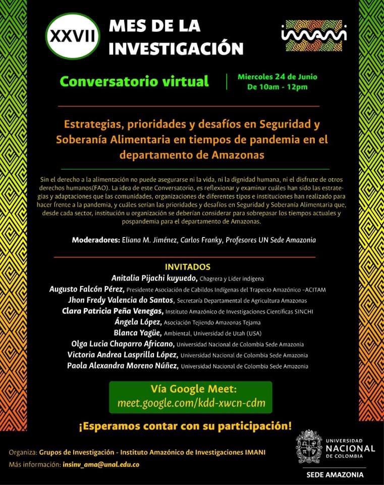 Conversatorio «Estrategias, prioridades y desafíos en seguridad y soberanía alimentaria en tiempos de pandemia