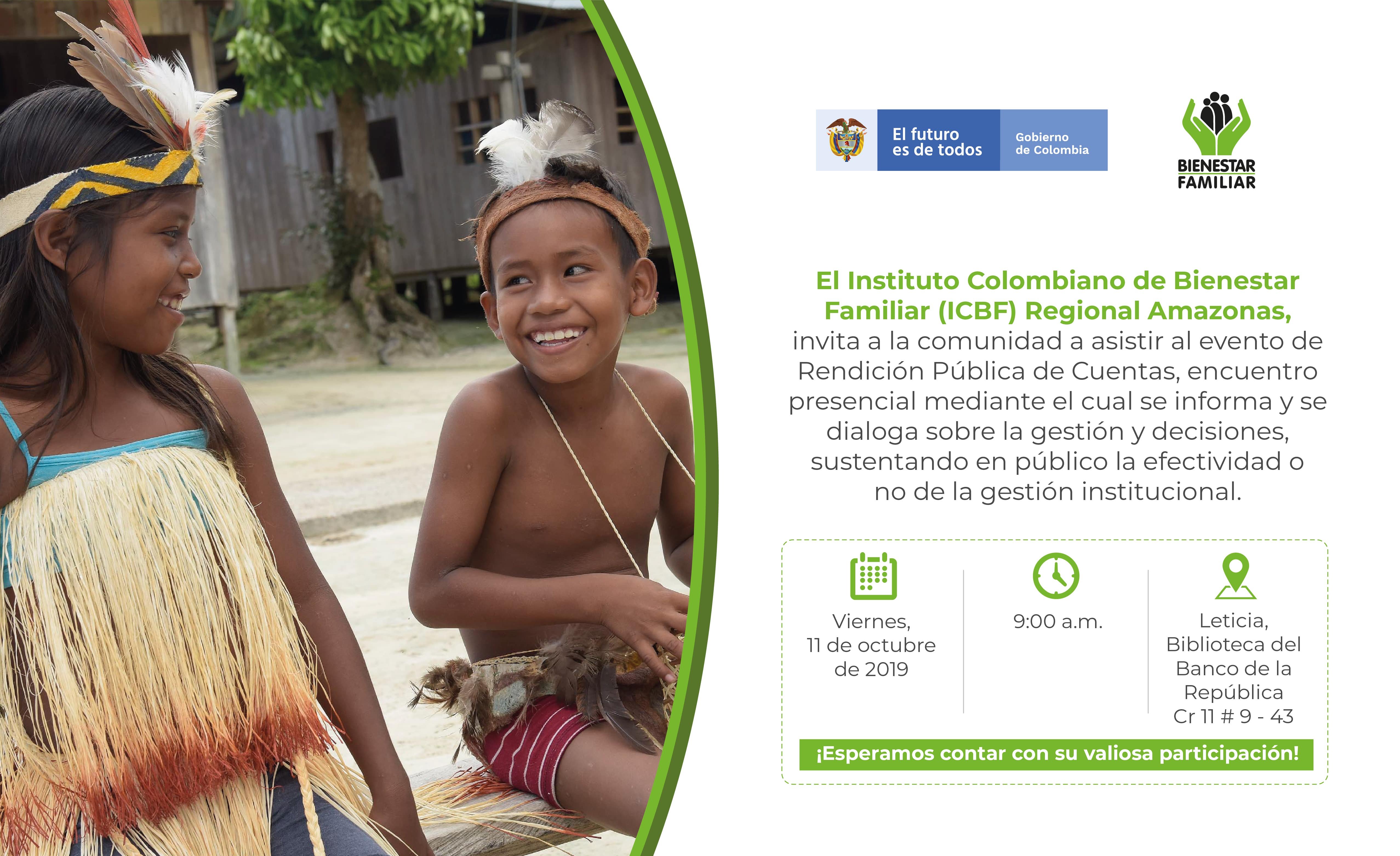 image for RENDICIÓN PÚBLICA DE CUENTAS ICBF REGIONAL AMAZONAS 2019