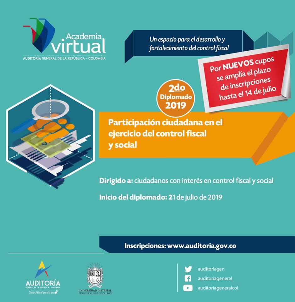 image for La Contraloría Departamental invita a participar de diplomado virtual gratuito de la Auditoría General de la República
