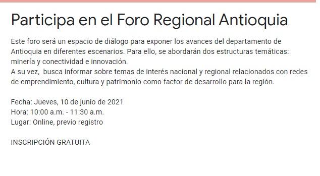image for Participa en el Foro Regional Antioquia