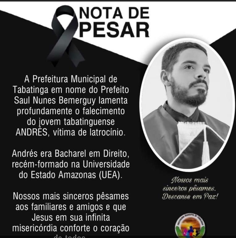 image for Prefeitura lamenta falecimento do jovem tabatinguense