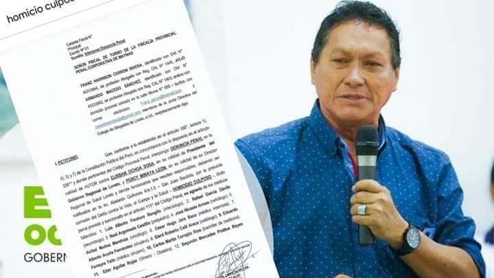 image for Gobernador es denunciado penalmente tras la muerte de 14 médicos