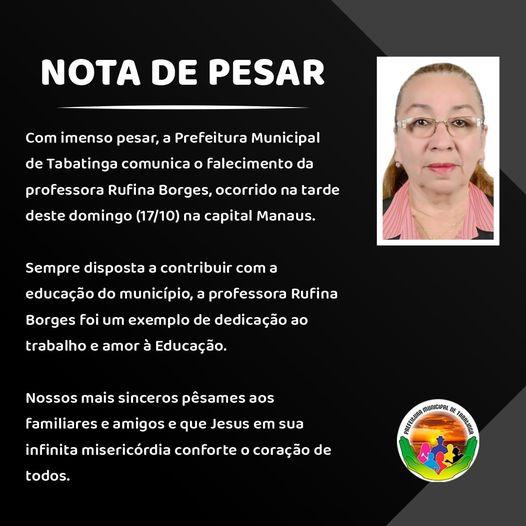 image for Prefeitura comunica o falecimento da professora Rufina Borges