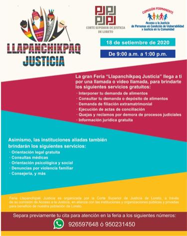 image for Corte de Loreto realizará la Feria Llapanchikpaq Justicia