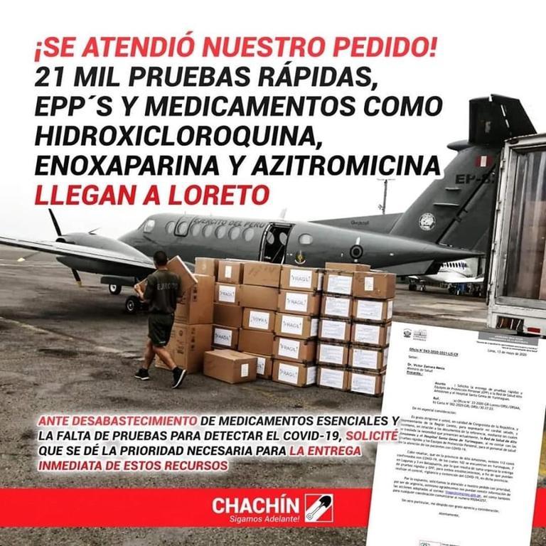 image for Anuncian entrega de más de 20 mil pruebas rápidas para Loreto