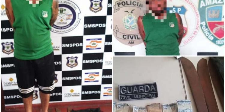 image for Colombiano é presos por ameaçar pessoas com terçado