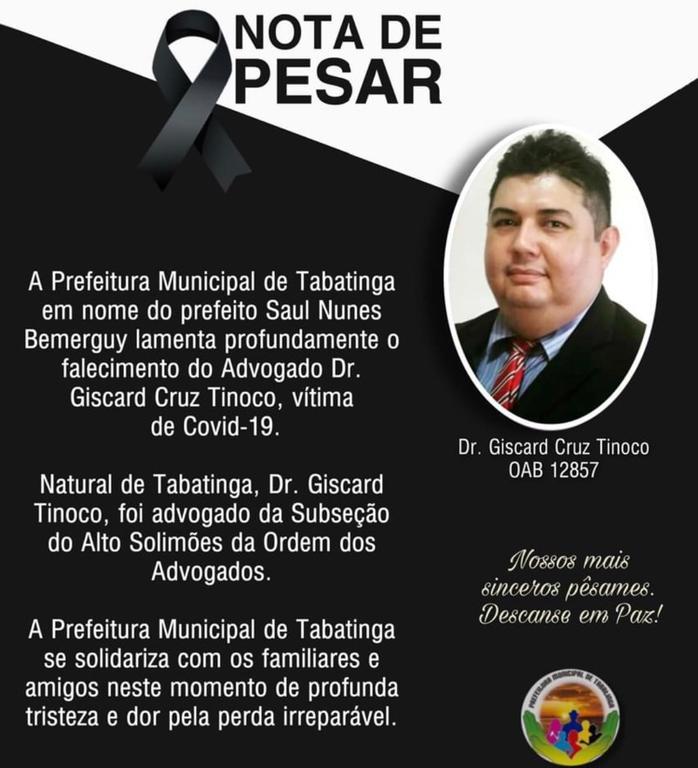 image for Prefeitura lamenta falecimento e advogado Giscard Cruz Tinoco