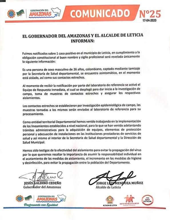 image for Primer caso de coronavirus en la Leticia