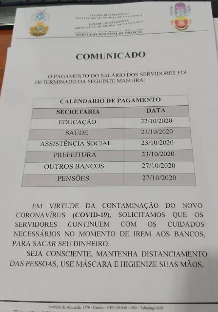 image for Pagamento da Prefeitura de Tabatinga sai a partir de quinta-feira 22/10