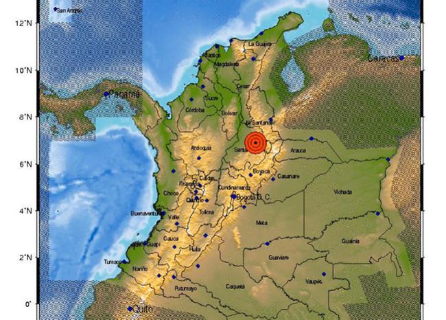 Mapa de Colombia indicando un sismo