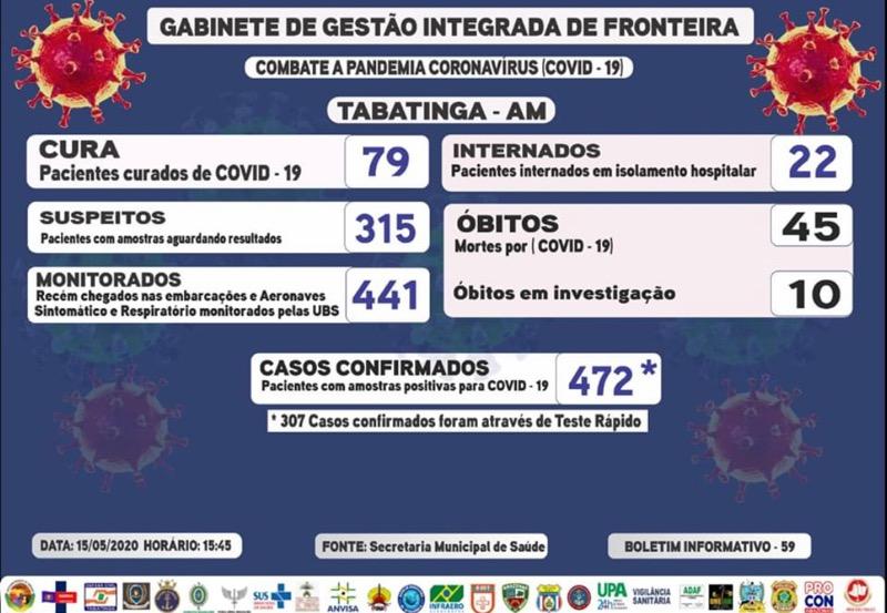 image for Tabatinga possui 432 casos de COVID-19