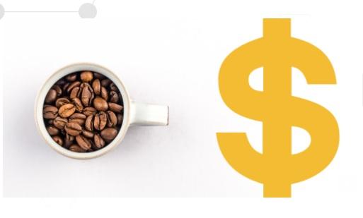 Imagen de una taza de cafe y el signo de pesos al lado