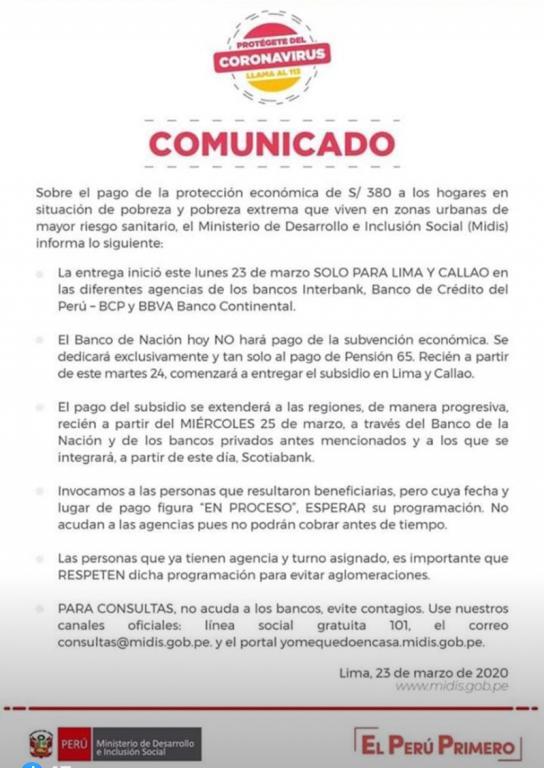 image for Comunicado del Ministerio de Desarrollo o Inclusión Social