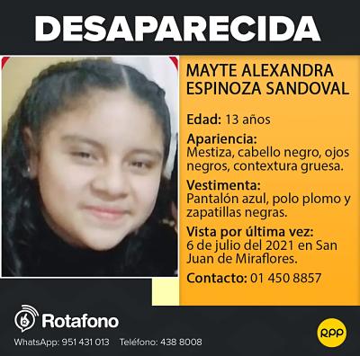 image for Mayte Alexandra se encuentra desaparecida desde el 6 de julio