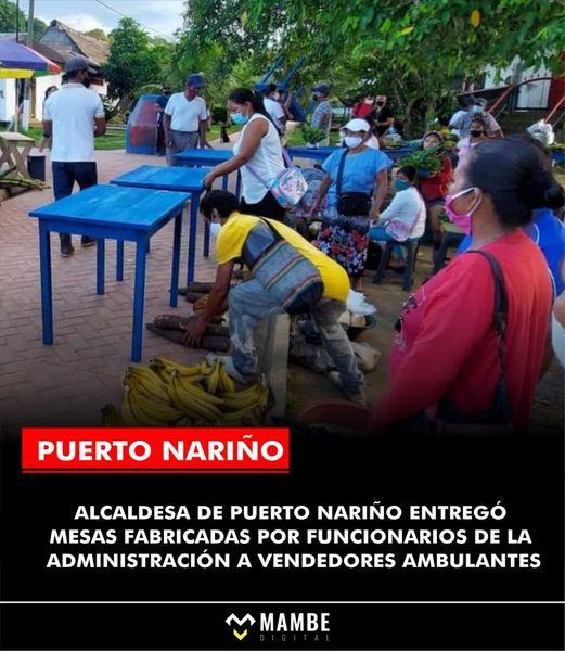 image for Alcaldesa de Puerto Nariño hace entrega de mesas a vendedores ambulantes