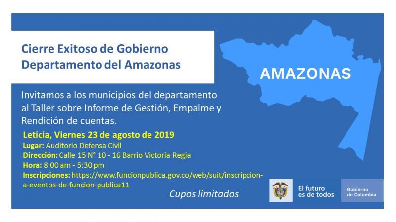 """LA CONTRALORÍA DEPARTAMENTAL DEL AMAZONAS CONVOCA AL TALLER """"CIERRE EXITOSO DE GOBIERNO"""""""