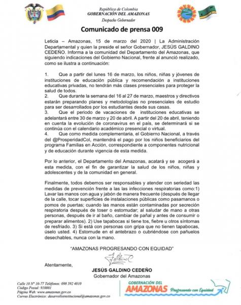 Administración Departamental se acoge a las directrices del gobierno nacional