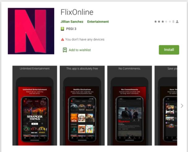 """Malware escondido dentro de una aplicación falsa de """"Netflix"""" en Play Store llamada """"FlixOnline"""" que se encuentra en Google Play"""
