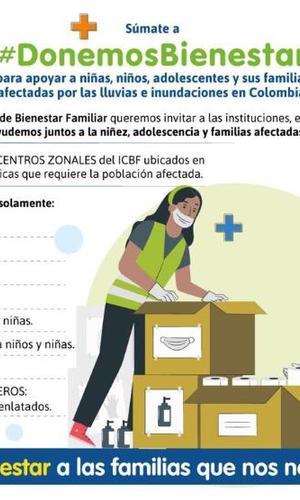 #DonemosBienestar en los centros zonales del ICBF. ¡Trabajemos unidos para ayudar a los damnificados!