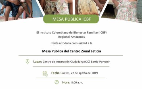 Mesa Pública ICBF Centro Zonal Leticia 2019