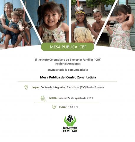 image for Mesa Pública ICBF Centro Zonal Leticia 2019