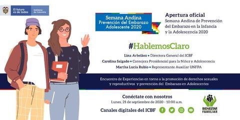 Este lunes 21 de septiembre a las 10 a.m. #HablemosClaro en la apertura oficial de la #SemanaAndina #PrevenciónEmbarazo en la adolescencia.