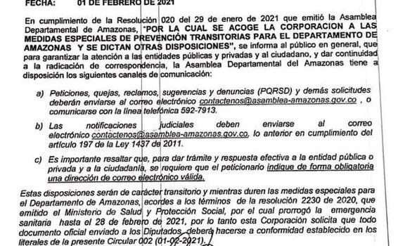 image for Circular emitida por la Asamblea Departamental