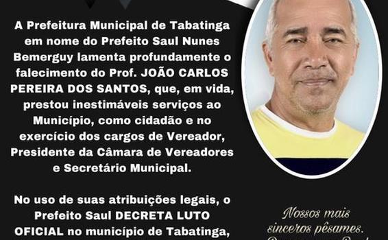 image for Prefeitura lamenta o falecimento do João Carlos Pereira Dos Santos