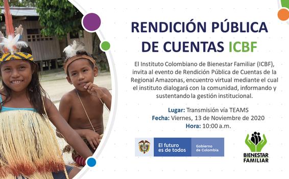 ¡CONÉCTATE EL PRÓXIMO VIERNES 13 DE NOVIEMBRE A LA RENDICIÓN PÚBLICA DE CUENTAS DEL ICBF!