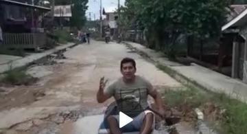 image for Morador de ATN revoltado com a situação de sua rua realiza protesto