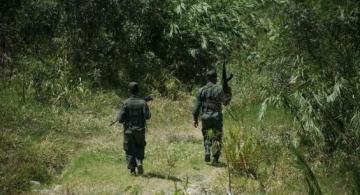 Personas con uniforme en entrando en un zona boscosa
