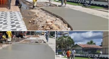 Trabalho de pavimentacao na Rua Tiradentes