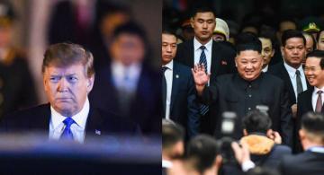 Presidentes  Trump y Kim en foto montaje